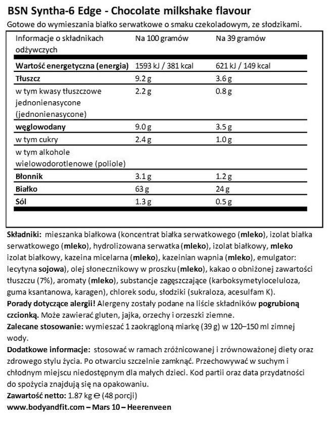 Syntha-6 Edge Nutritional Information 1