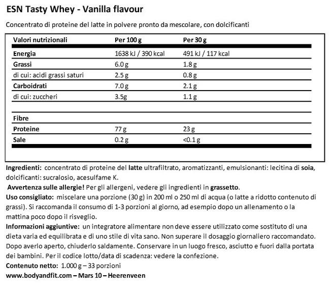 Tasty Whey Nutritional Information 1