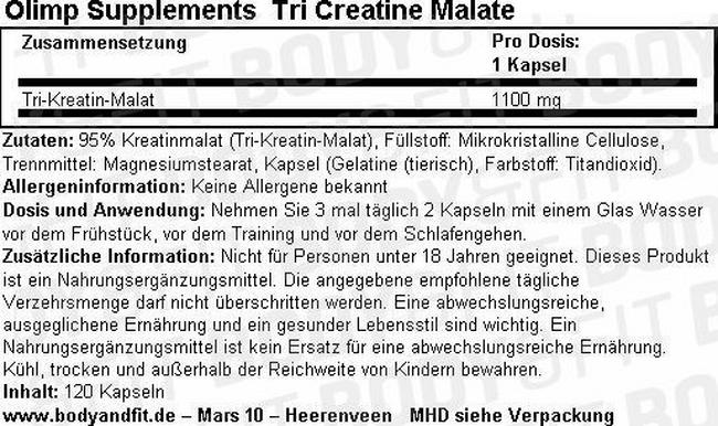 Tri Creatin Malat Nutritional Information 1