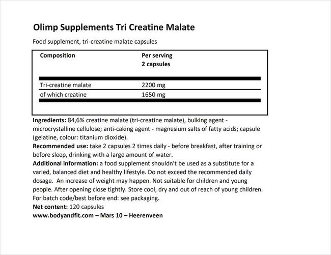 Tri Creatine Malate Nutritional Information 1