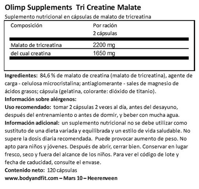 Tri Creatine Malate Nutritional Information 1
