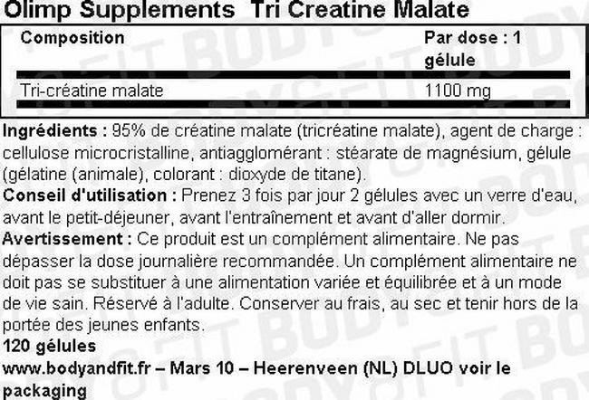 Gélules Tri Creatine Malate Nutritional Information 1