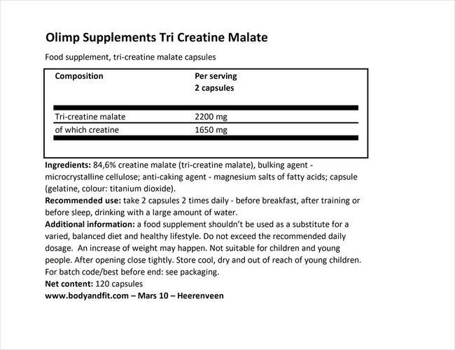 트라이 크레아틴 말레이트 Nutritional Information 1