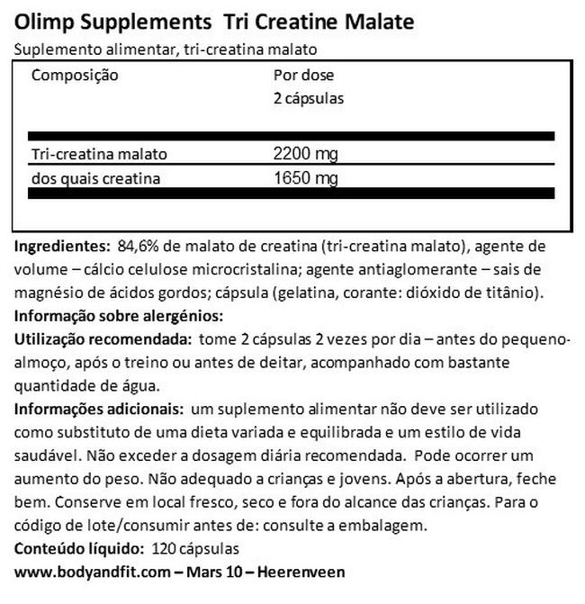 Tri-Creatine Malate Nutritional Information 1