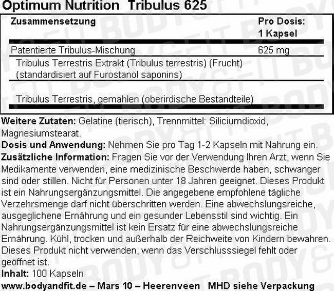 TRIBULUS 625 Nutritional Information 1