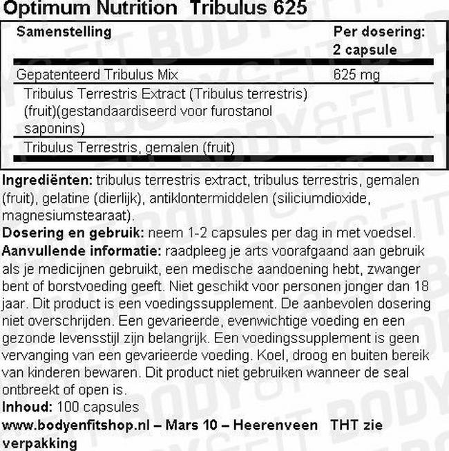 TRIBULUS 625 (standarized extract blend) Nutritional Information 1