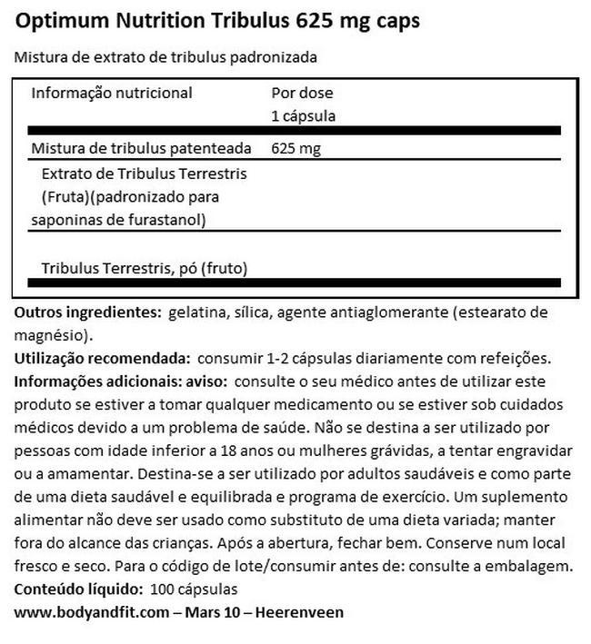 Tribulus 625 (mistura de extratos padronizada) Nutritional Information 1