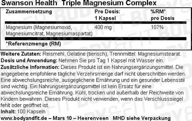 Triple Magnesium Complex Nutritional Information 1