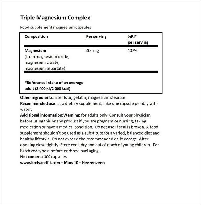 トリプル マグネシウム コンプレックス Nutritional Information 1