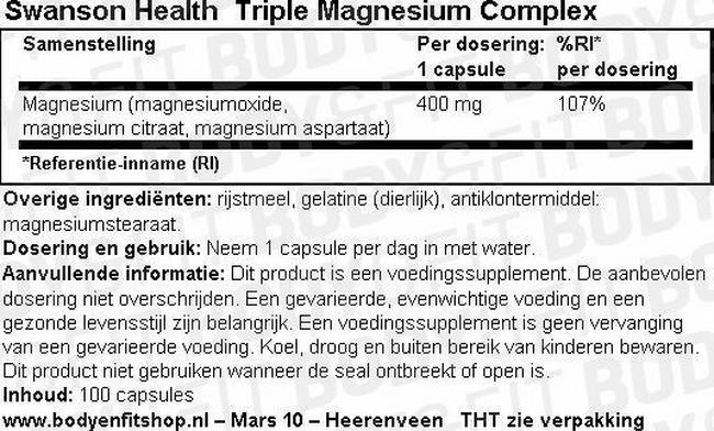 Triple Magnesium Complex Nutritional Information 1