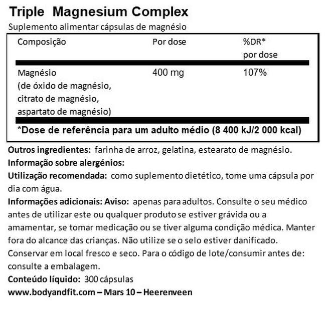 Complexo de magnésio triplo Nutritional Information 1