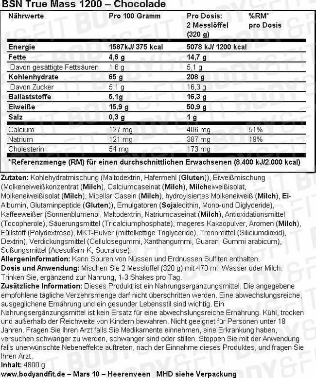 True Mass 1200 Nutritional Information 1