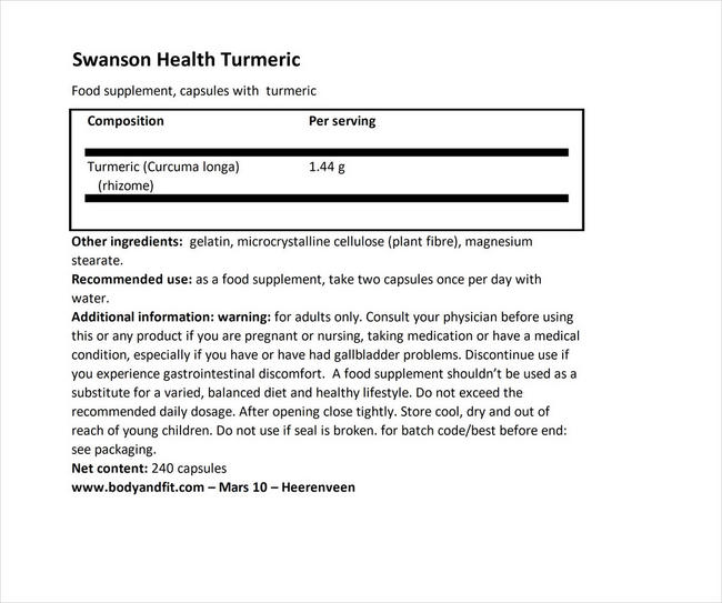 Turmeric 720 mg Nutritional Information 1