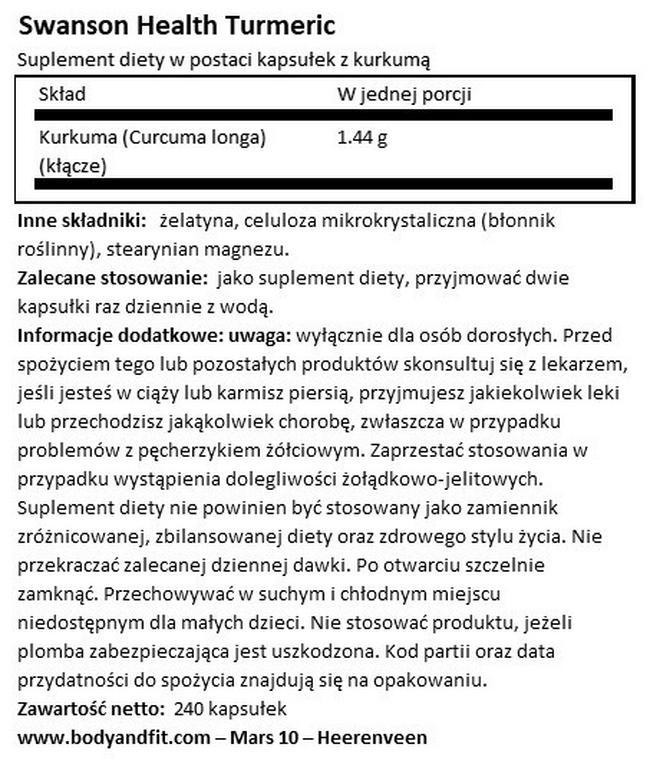 Kurkuma 720 mg Nutritional Information 1