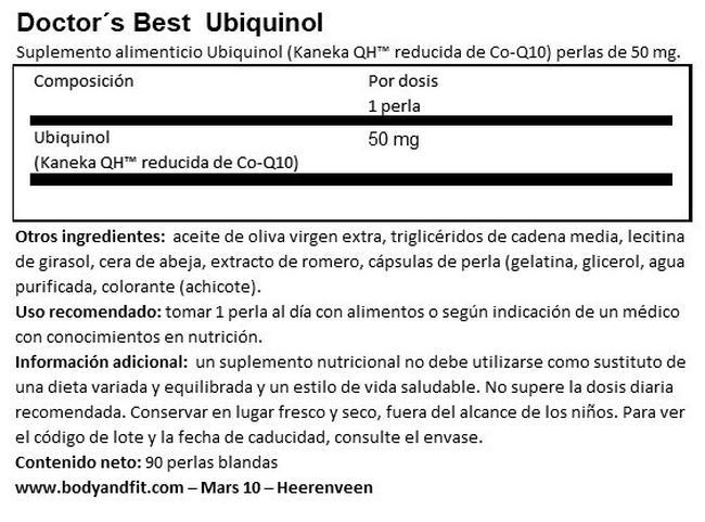 Ubiquinol Nutritional Information 1