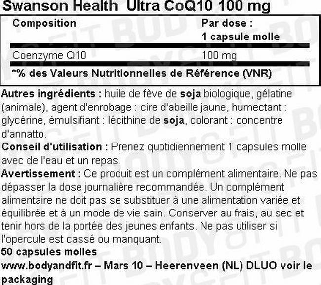 Ultra CoQ10 100mg Nutritional Information 1