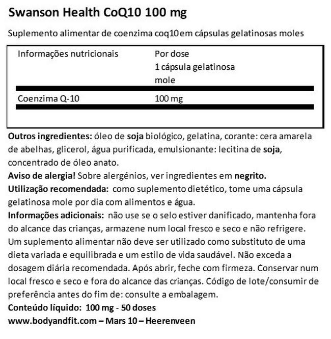 Ultra CoQ10 100 mg Nutritional Information 1