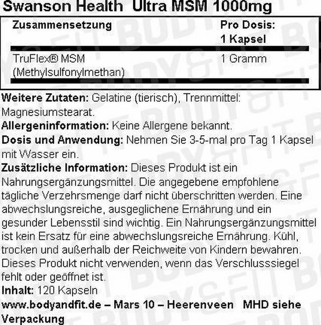 Ultra MSM 1000 mg Nutritional Information 1