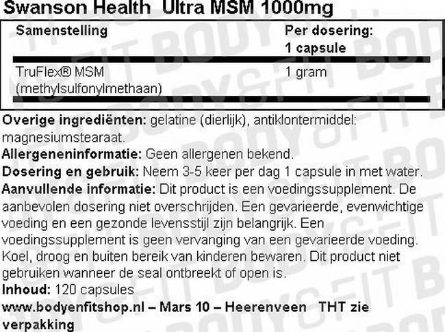 Ultra MSM 1000mg Nutritional Information 1