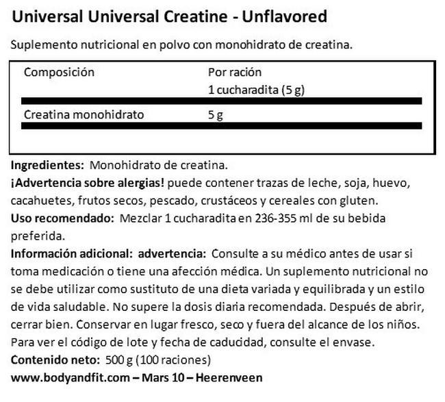 Universal Creatine Creapure Nutritional Information 1