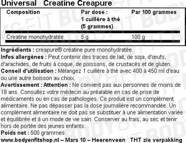 Universal Creatine Nutritional Information 1