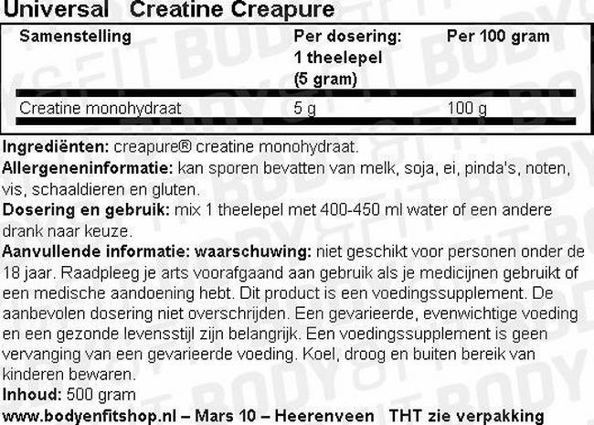 Universal Creatine Nutritional Information 1