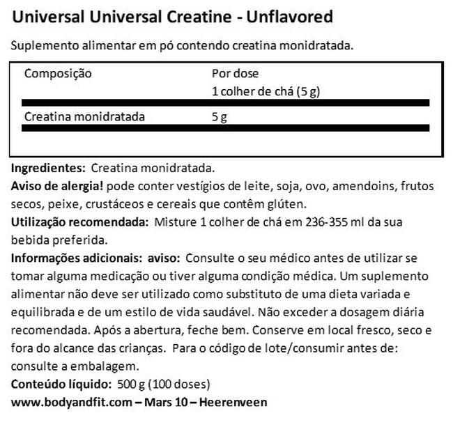 Creapure Universal Creatine Nutritional Information 1