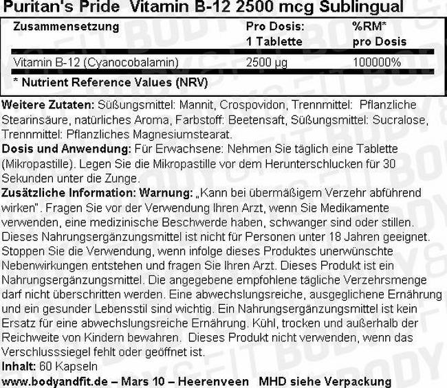 Vitamin B-12 2500 mcg Sublingual Nutritional Information 3