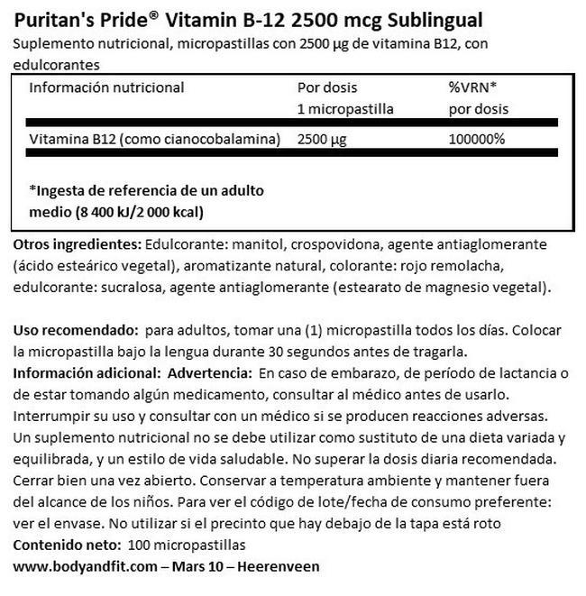 Vitamin B12 2500 µg cápsulas sublinguales Nutritional Information 1