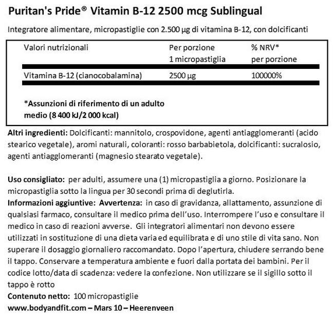 Vitamina B12 2500 mg Capsule Sotto la lingua Nutritional Information 1