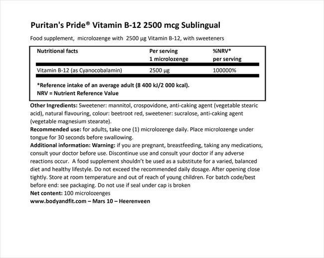 ビタミンB12 2500µg カプセル サブリンガル Nutritional Information 1