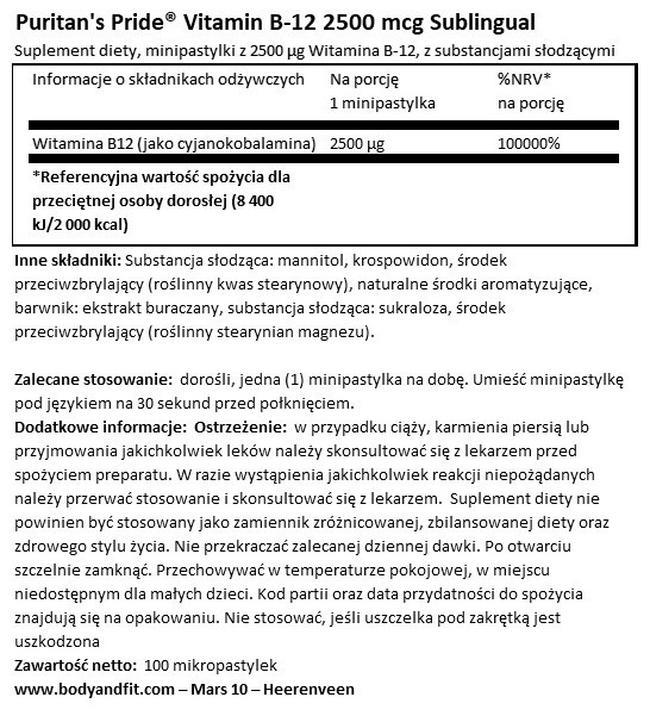 Vitamin B12 2500 µg kapsułki podjęzykowe Nutritional Information 1