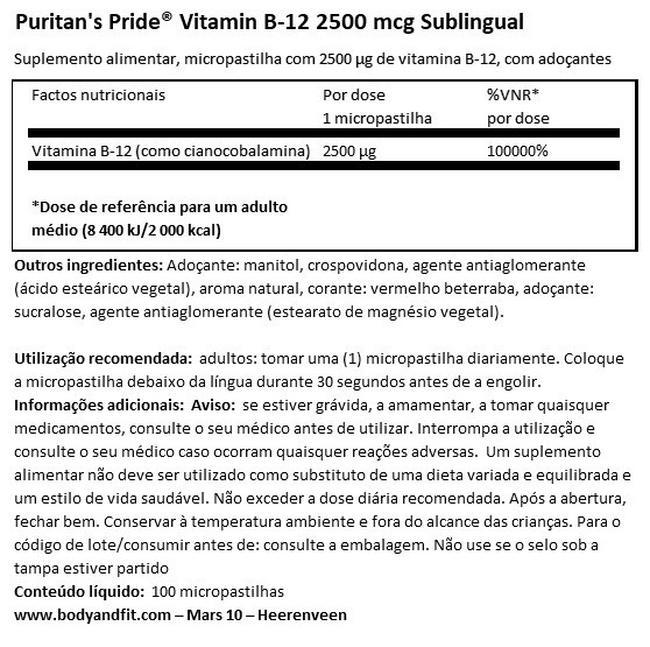 Vitamin B12 2500µg capsules sublingual Nutritional Information 1