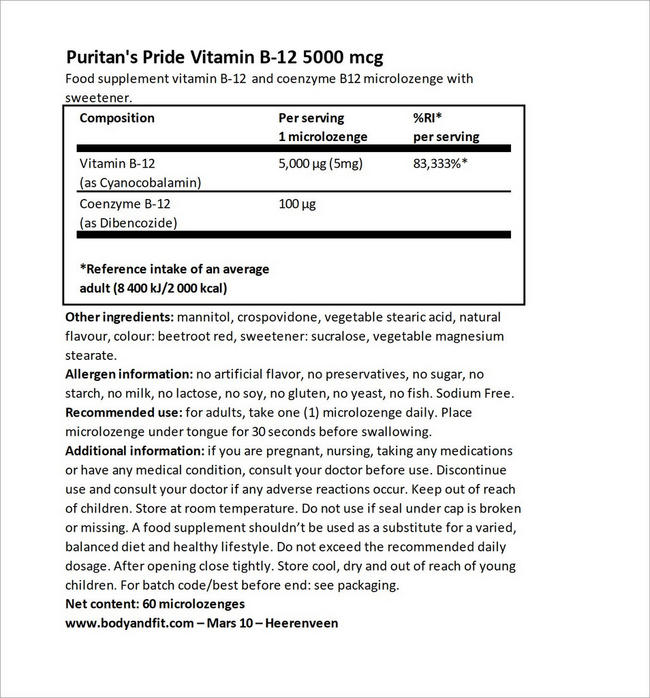 Vitamin B-12 5000 mcg Sublingual Nutritional Information 3