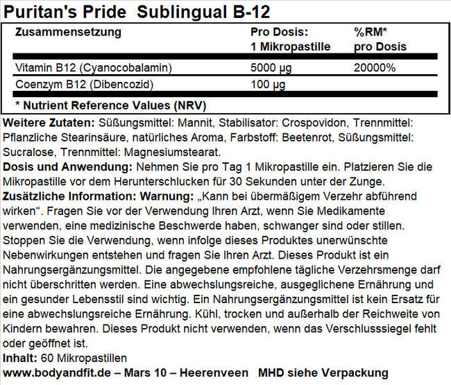 Vitamin B-12 5000 mcg Sublingual Nutritional Information 1