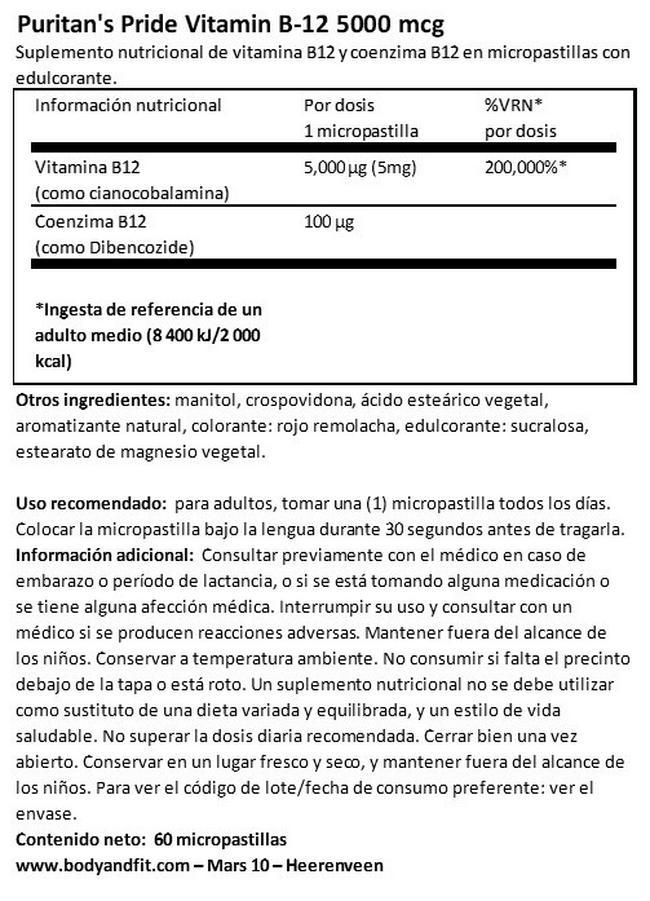 Vitamin B-12 5000 µg sublingual Nutritional Information 1