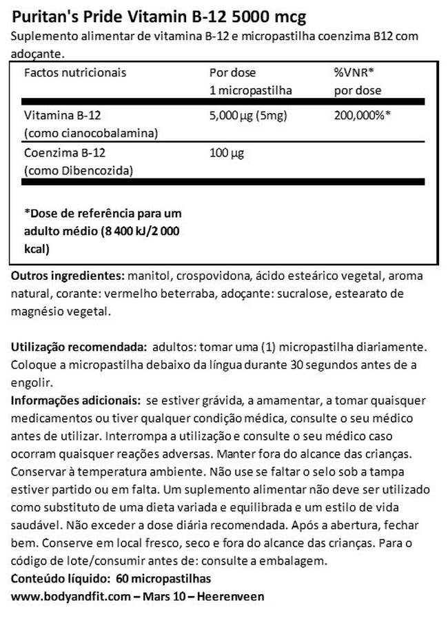 Vitamin B-12 5000µg sublingual Nutritional Information 1