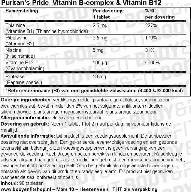 Vitamin B-Complex & Vitamin B-12 Nutritional Information 1