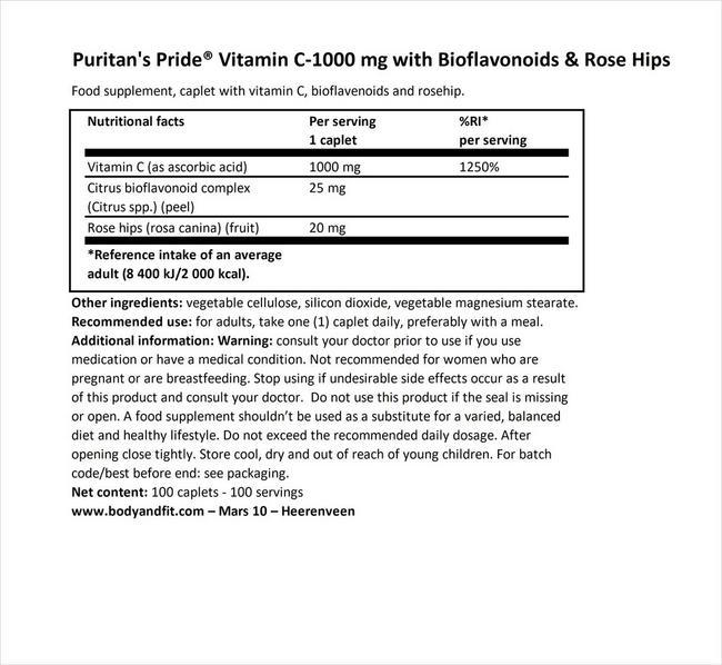 퓨리탄 프라이드 비타민 C-1000mg (바이오플라보노이드 & 로즈힙 함유) Nutritional Information 1