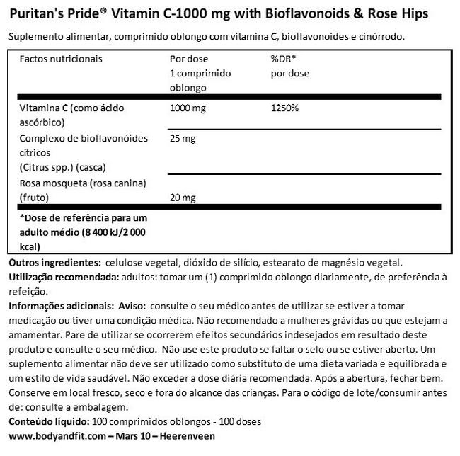 Vitamin C-1000mg with Bioflavonoids & Rose Hips Nutritional Information 1