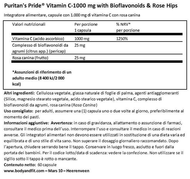 Vitamina C-1000 mg con Rosa Canina a rilascio prolungato Nutritional Information 1