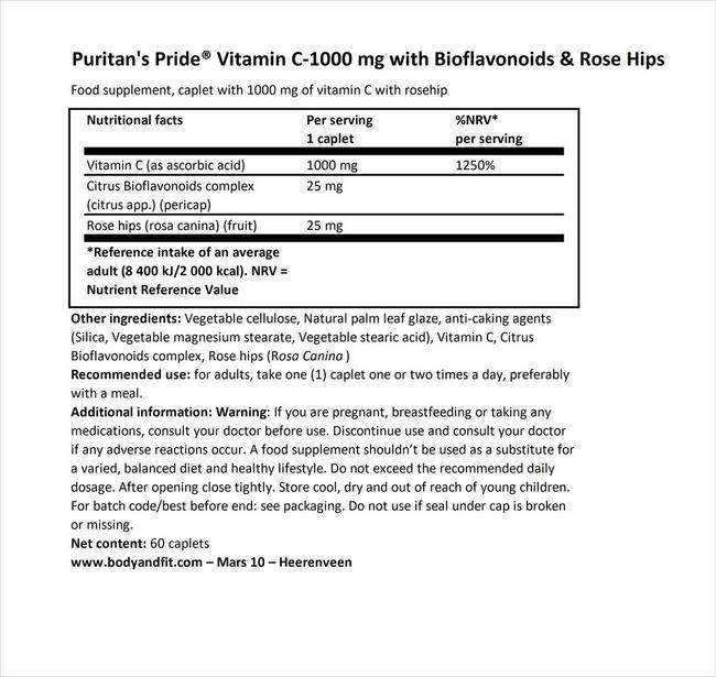 비타민 C-1000mg (로즈힙 타임 릴리즈) Nutritional Information 1