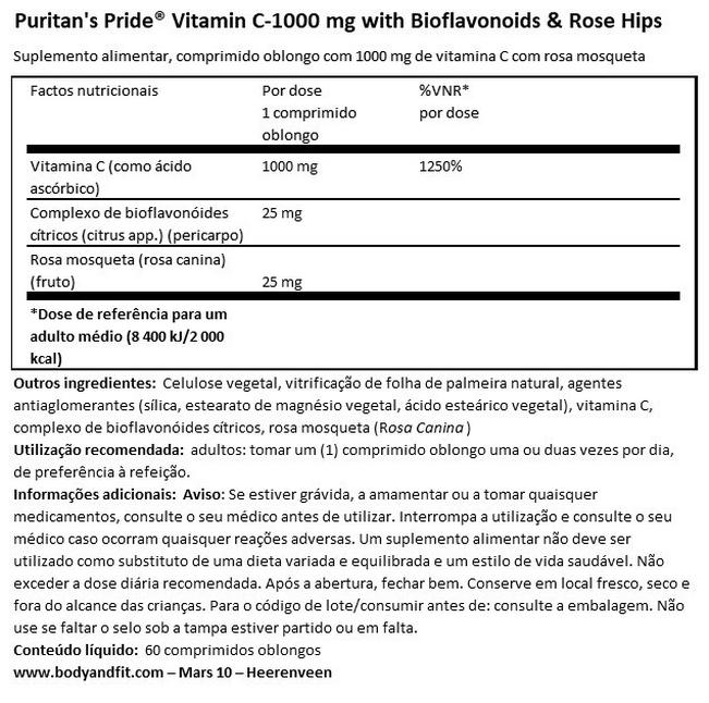 Vitamin C-1000mg with Rose Hips Timed-Release Nutritional Information 1