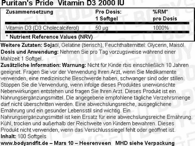 Vitamine D3 2000 IU Nutritional Information 1