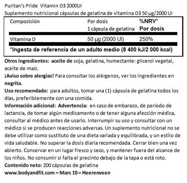 Vitamin D3 2000 UI Nutritional Information 1