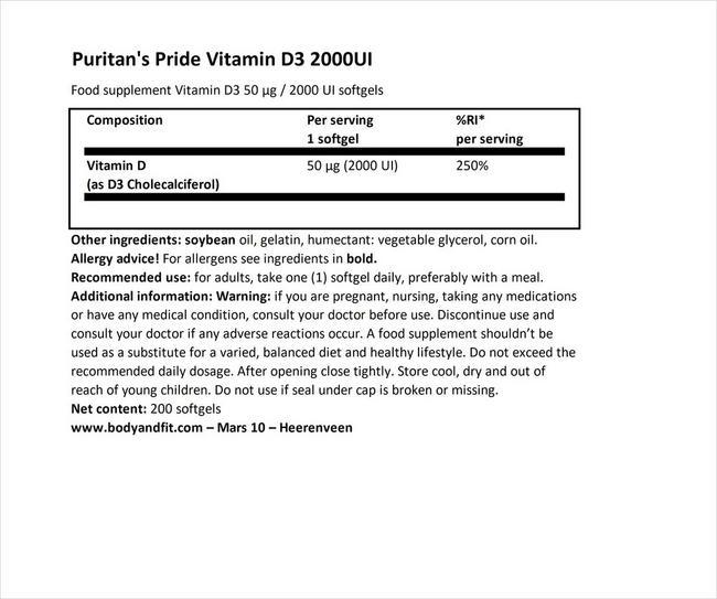 ビタミンD3 2000IU Nutritional Information 1