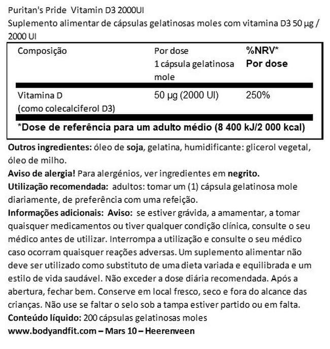 Vitamina D3 2000IU Nutritional Information 1
