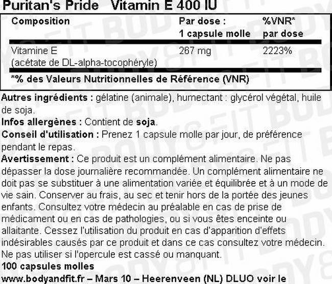 Capsules molles VitamineE 400UI Nutritional Information 1