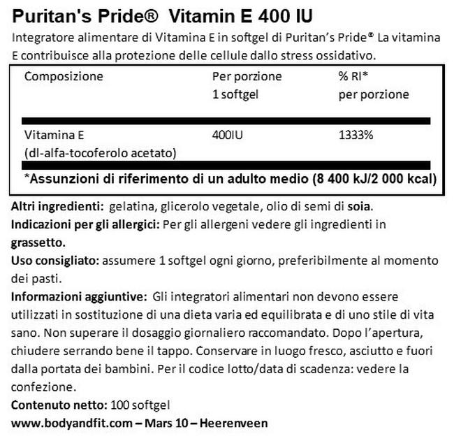 Vitamina E 400IU Nutritional Information 1