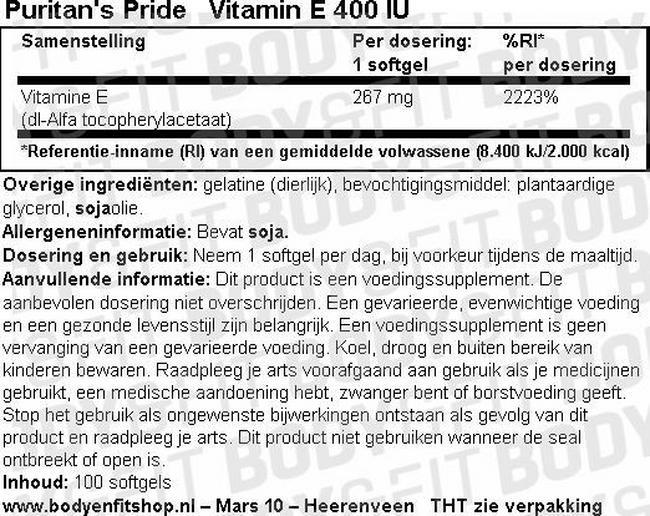 Vitamin E 400 IU Nutritional Information 1
